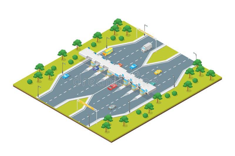 Vue isométrique du concept 3d de paiement de route de péage Vecteur illustration de vecteur