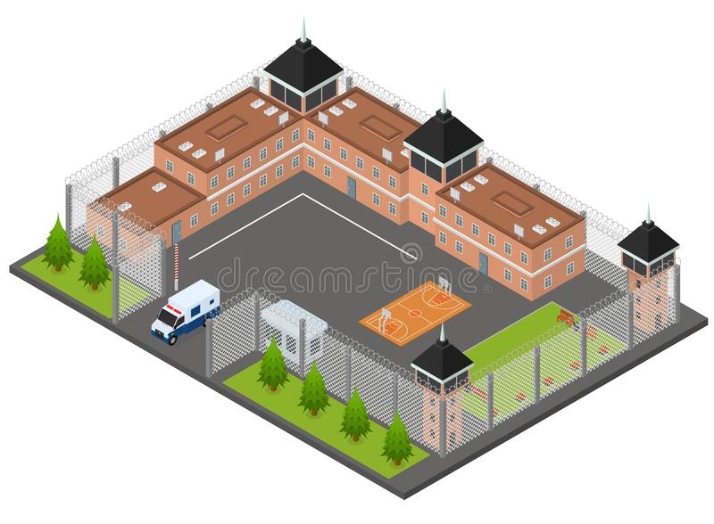 Vue isométrique du concept 3d de prison de prison Vecteur illustration stock