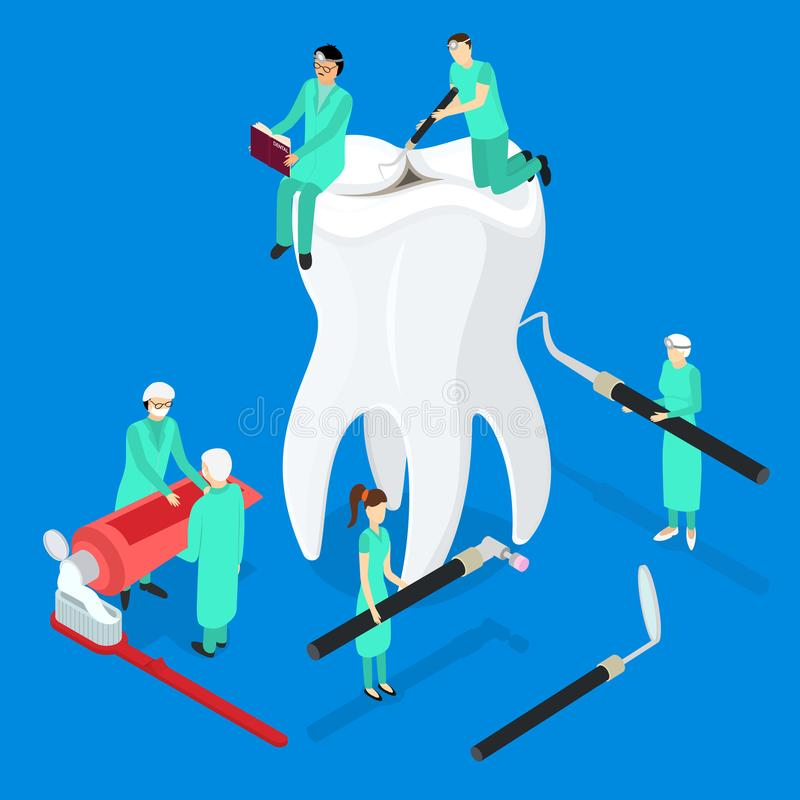 Vue isométrique du concept 3d de soins dentaires Vecteur illustration libre de droits