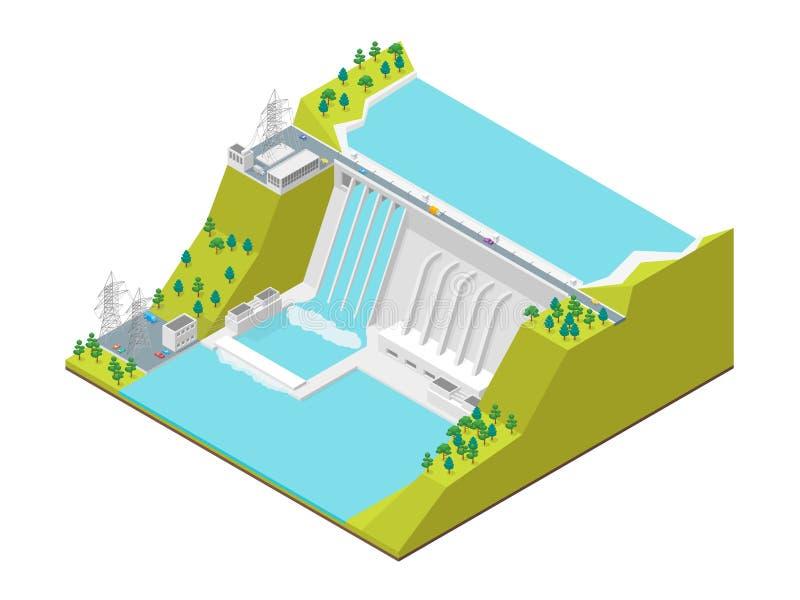 Vue isométrique hydroélectrique du concept 3d de centrale Vecteur illustration libre de droits