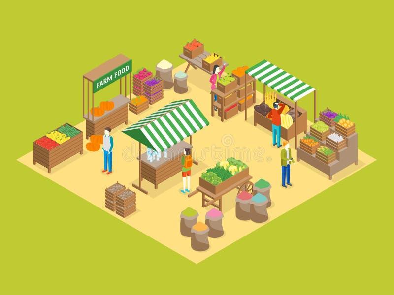 Vue isométrique locale du concept 3d du marché de ferme Vecteur illustration de vecteur
