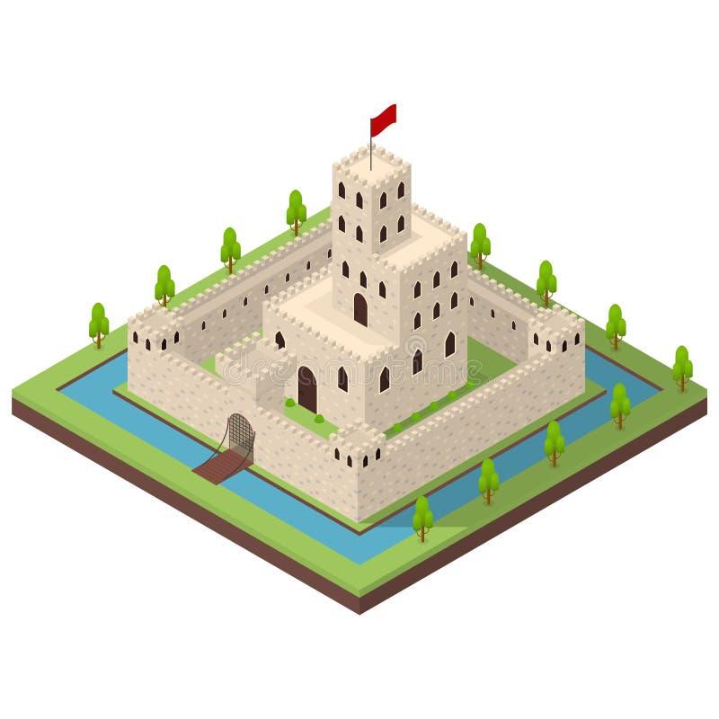 Vue isométrique médiévale du concept 3d de royaume Vecteur illustration stock