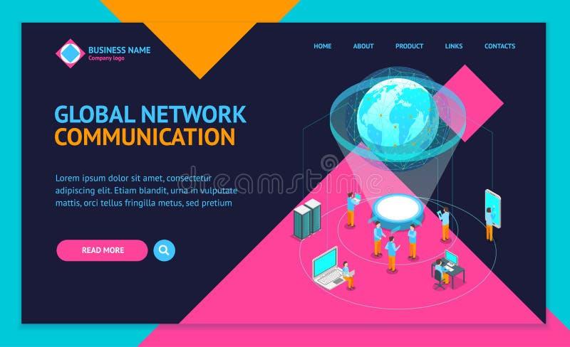 Vue isométrique mondiale du calibre 3d de page Web d'atterrissage de concept de réseau Internet de télécommunication Vecteur illustration de vecteur