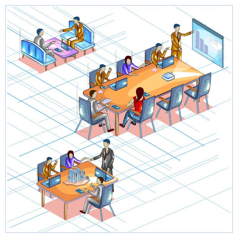 Vue isométrique plate du style 3D de la réunion d'affaires et de la conférence illustration libre de droits