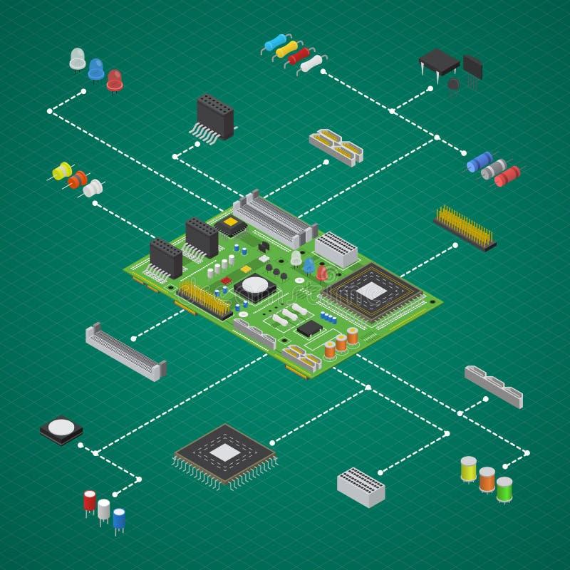 Vue isométrique réglée électronique de composant de carte d'ordinateur Vecteur illustration de vecteur