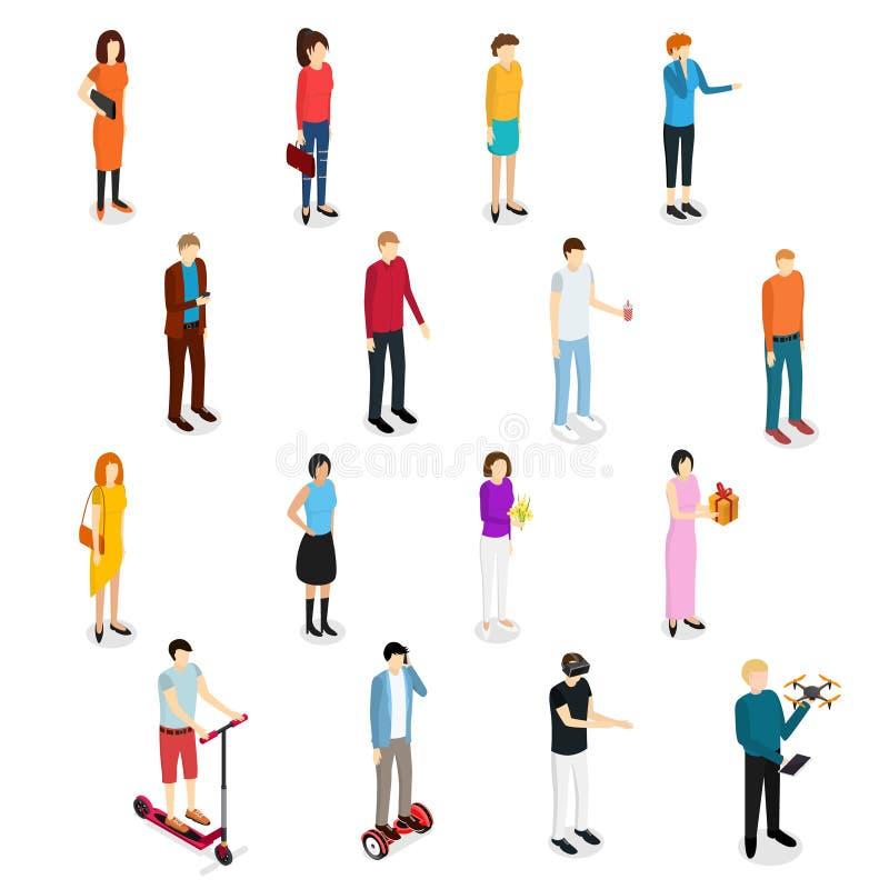 Vue isométrique réglée d'homme et de femme de personnes Vecteur illustration de vecteur