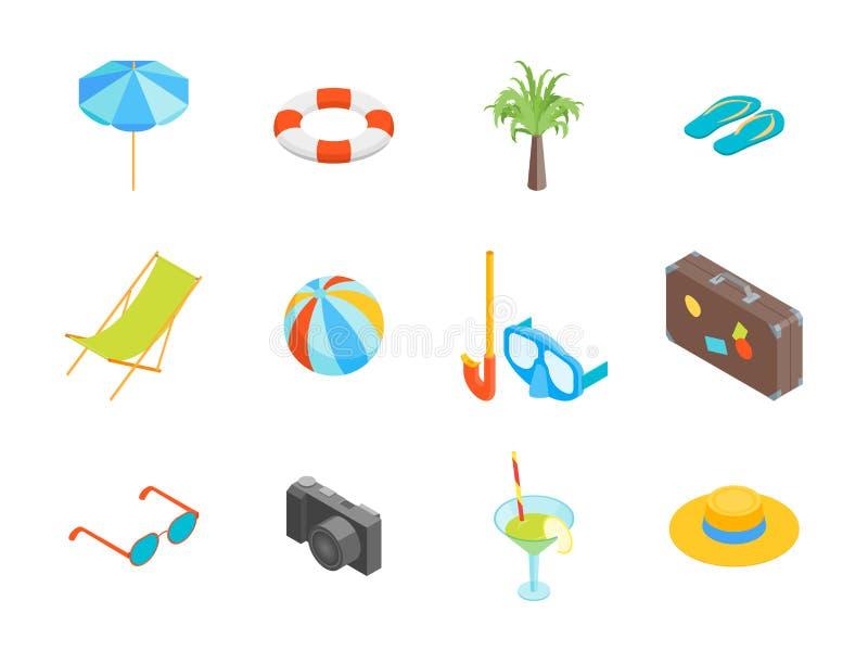 Vue isométrique réglée d'icône de repos d'été de plage Vecteur illustration libre de droits