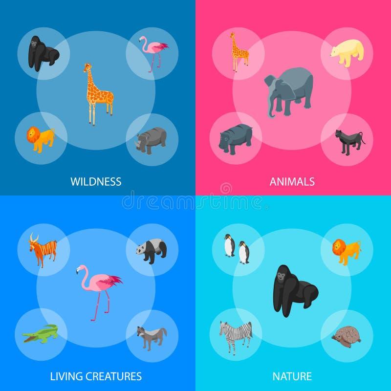 Vue isométrique réglée de bannière des animaux sauvages 3d Vecteur illustration de vecteur
