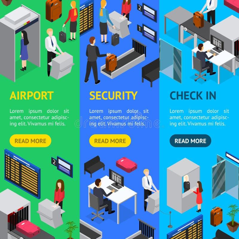 Vue isométrique réglée de Vecrtical de bannière d'enregistrement de sécurité dans les aéroports Vecteur illustration de vecteur