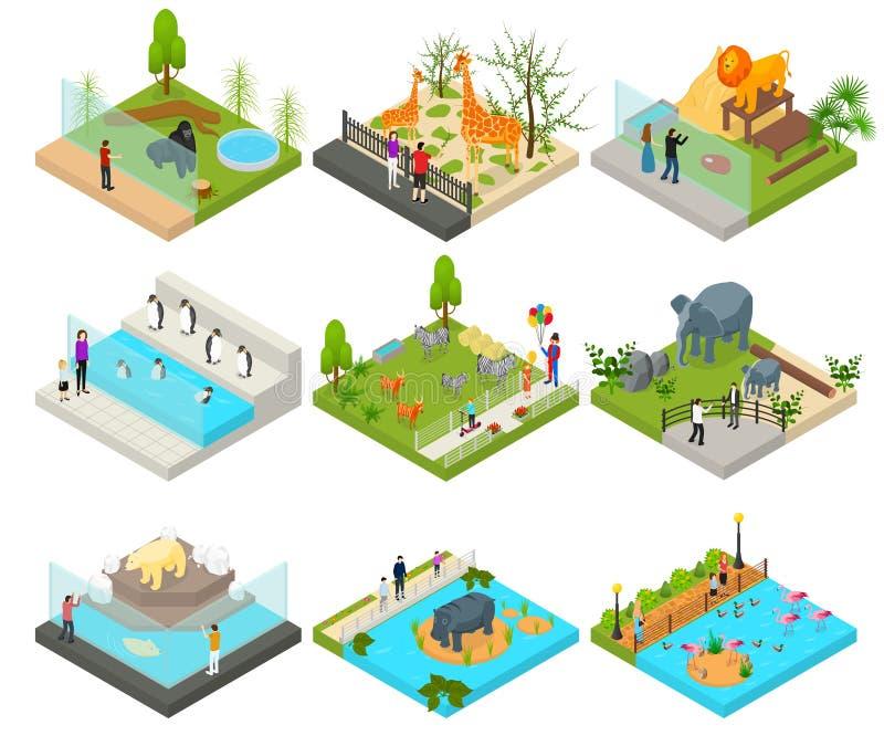 Vue isométrique réglée du concept 3d de zoo public Vecteur illustration libre de droits