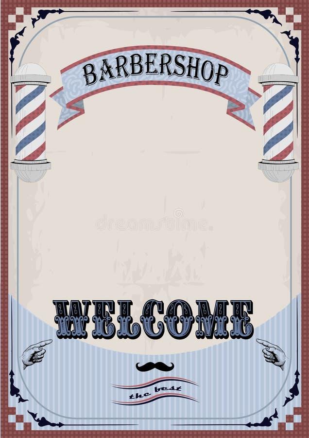 Vue la fasce ou le bardeau d'enseigne de signe de frontière pour le coiffeur, coiffe illustration libre de droits