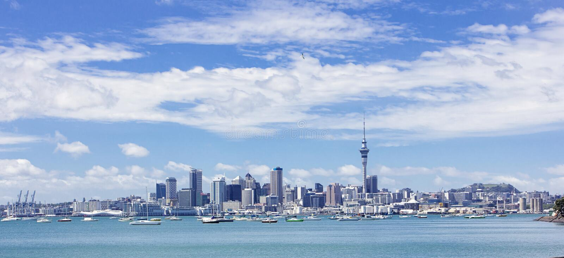 Vue large d'Auckland, Nouvelle-Zélande photographie stock libre de droits