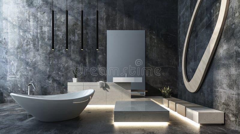 Vue large de pièce avec le mur et les lumières noirs illustration de vecteur