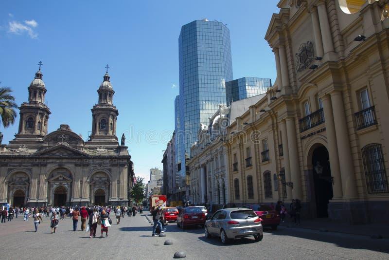 Vue large de Plaza de Armas, Santiago de Chili photos stock