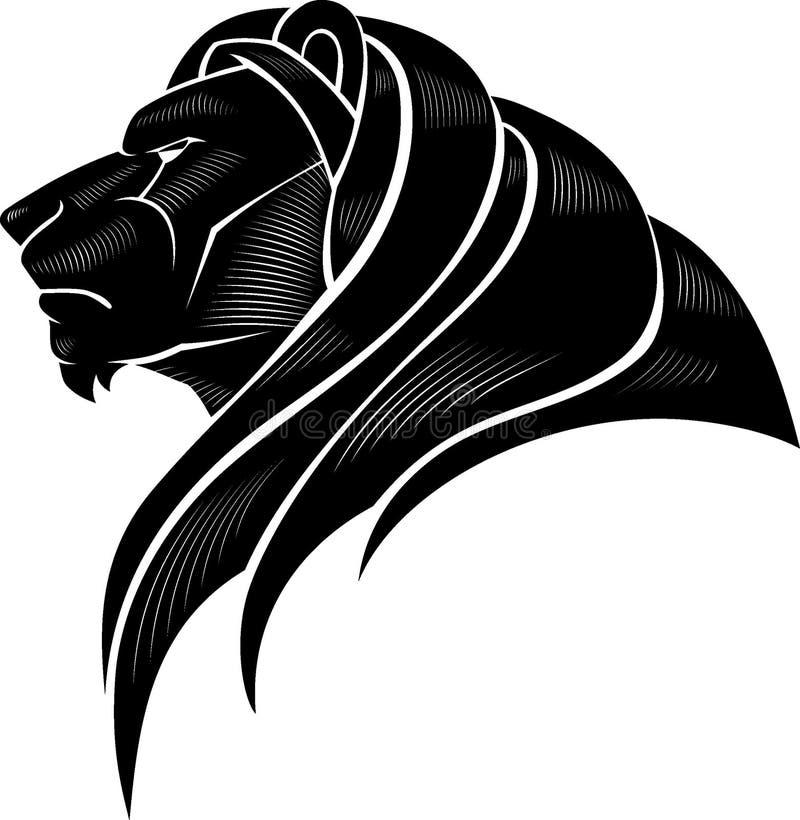 Vue latérale de la tête de lion illustration de vecteur