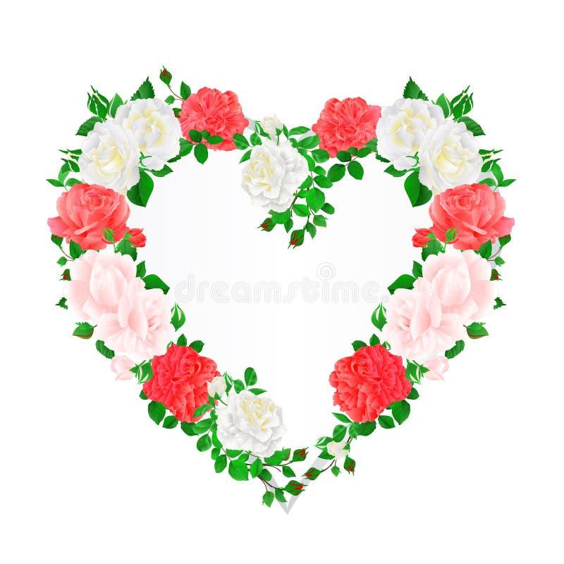 Vue le coeur des roses roses et blanches et bourgeonne l'illustration de fête florale de vecteur de fond de vintage editable illustration de vecteur