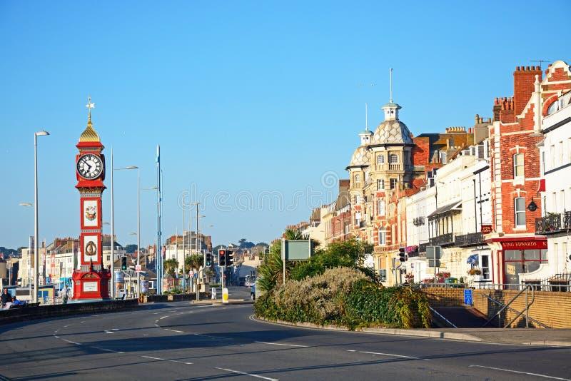 Vue le long d'esplanade de Weymouth photographie stock libre de droits