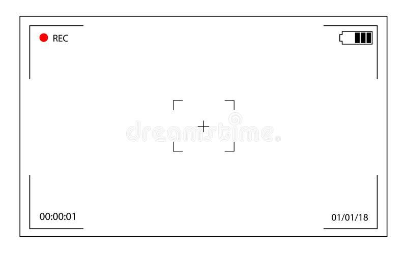 Vue le tir d'écran du caméscope en enregistrant écran de foyer sur l'appareil-photo illustration de vecteur