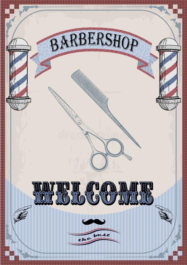 Vue les ciseaux de frontière et peignez le bardeau de signe pour le coiffeur, coiffeur illustration stock