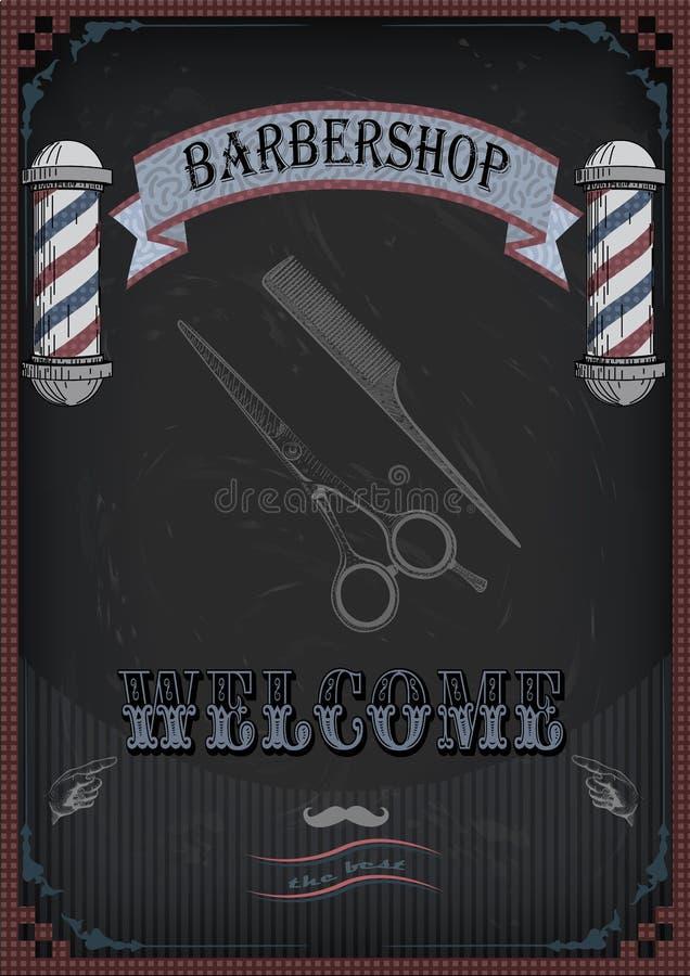 Vue les ciseaux de frontière, les cisaillements, bardeau de signe de peigne de cisaillement pour barbe illustration stock