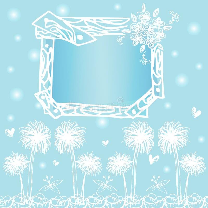 Vue les designs de carte sur le vecteur de dessin de carte blanche sur le fond bleu-clair illustration libre de droits