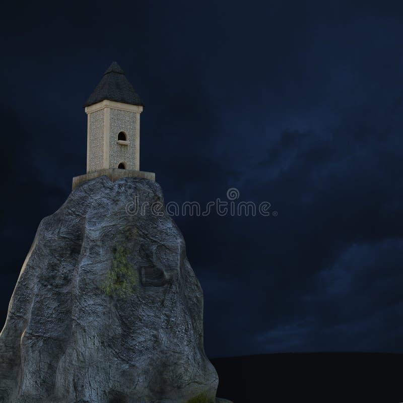 Vue loin dessus de la tour en pierre qui sert de phare illustration stock