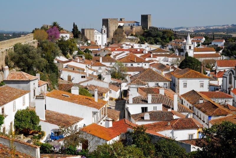 vue médiévale de ville du Portugal d'obidos images libres de droits