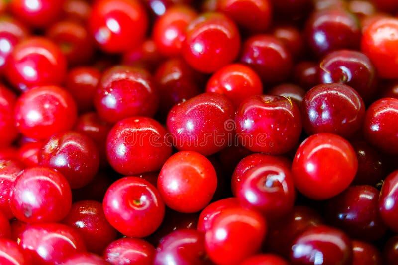 Vue mûre rouge de macro de cerises Beaucoup de cerises images libres de droits