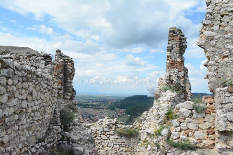 Vue merveilleuse abstraite de la forteresse de Rushnov images libres de droits