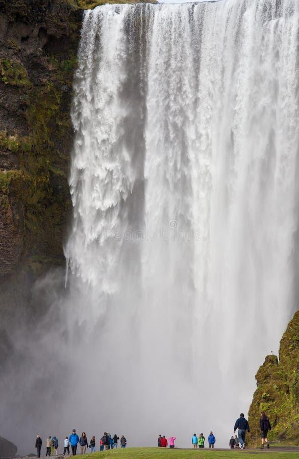 Vue merveilleuse de cascade de Skogafoss en Islande Jour de lumière du soleil en été avec le paysage vert image stock