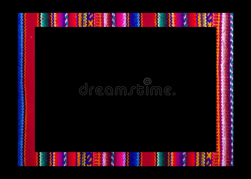 Vue mexicaine de vecteur d'isolement sur le fond noir Frontière colorée en broderie de style de Navajo, de textiles de l'Amérique illustration libre de droits
