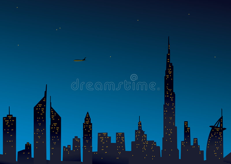 Vue moderne de Dubaï illustration de vecteur