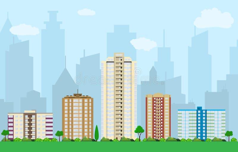 Download Vue moderne de ville illustration de vecteur. Illustration du architecture - 76083330