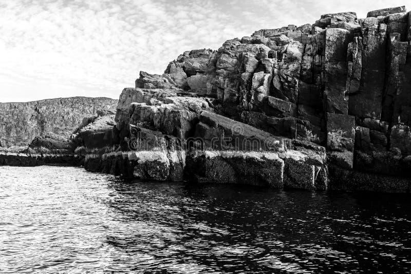 Vue noire et blanche de littoral de mer de Barents Océan arctique, Kola Peninsula, Russie photos libres de droits