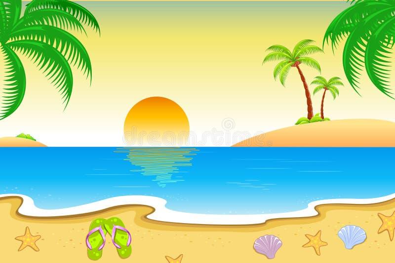 Vue normale de plage illustration de vecteur
