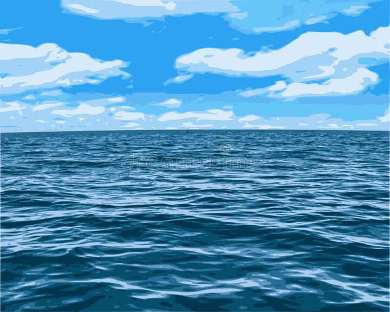 Vue océanique de ciel illustration de vecteur