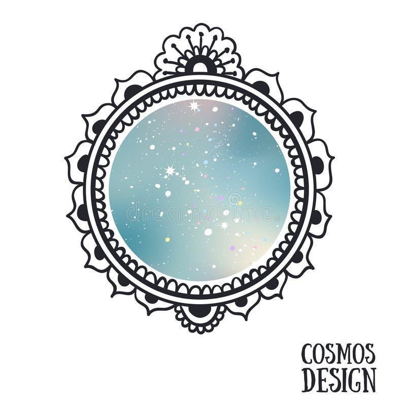 Vue ornementale de style de Boho avec l'espace à l'intérieur illustration stock
