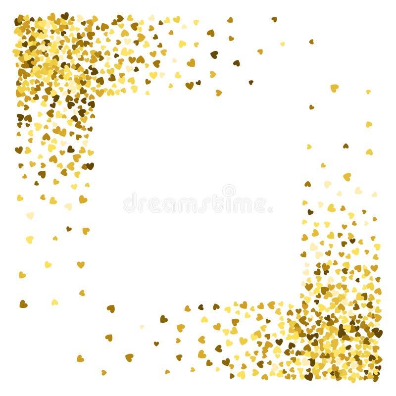 Vue ou frontière des coeurs aléatoires de dispersion illustration stock