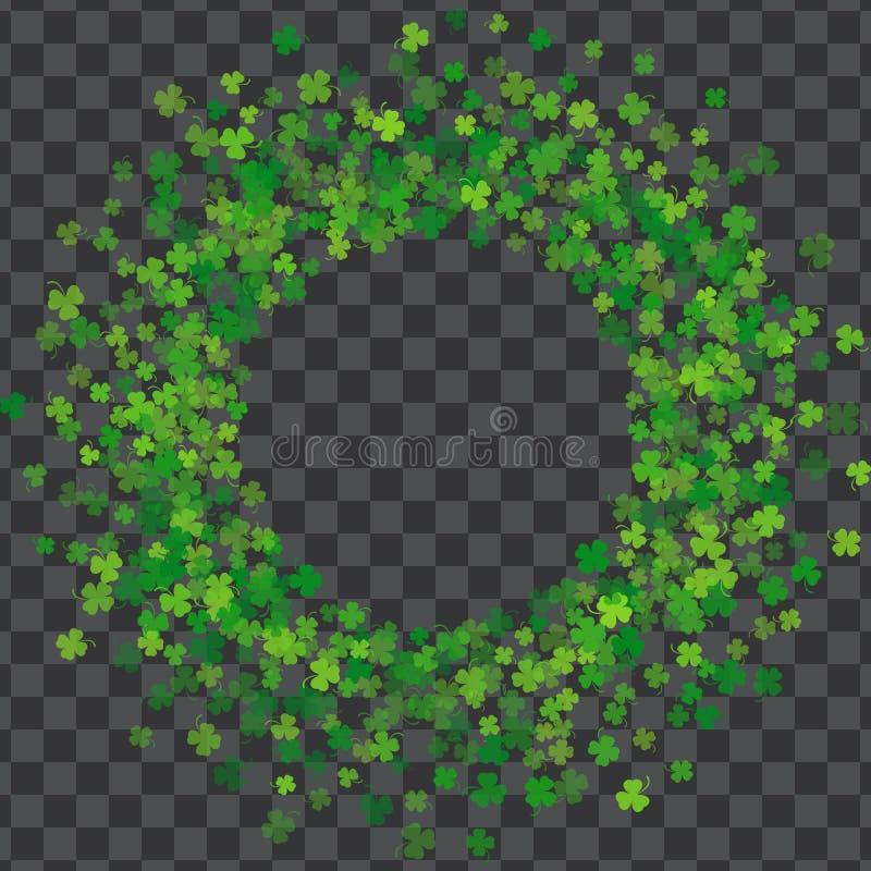 Vue ou frontière des feuilles aléatoires de trèfle de dispersion illustration libre de droits