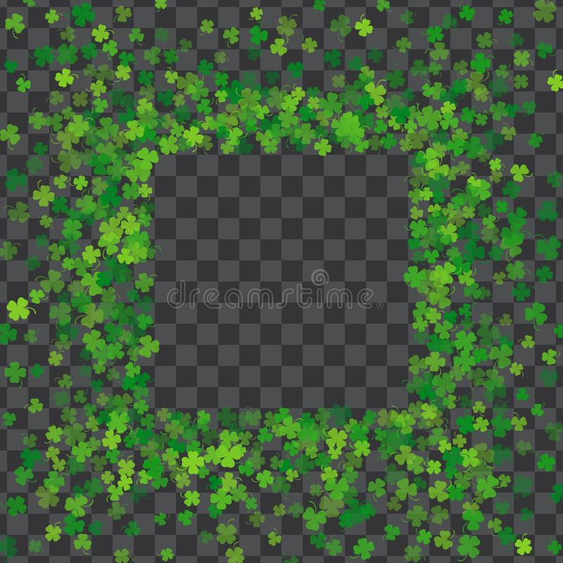 Vue ou frontière des feuilles aléatoires de trèfle de dispersion illustration stock