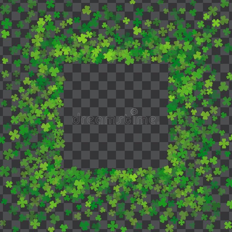 Vue ou frontière des feuilles aléatoires de trèfle de dispersion illustration de vecteur