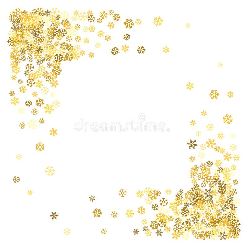 Vue ou frontière des flocons de neige aléatoires de dispersion illustration de vecteur
