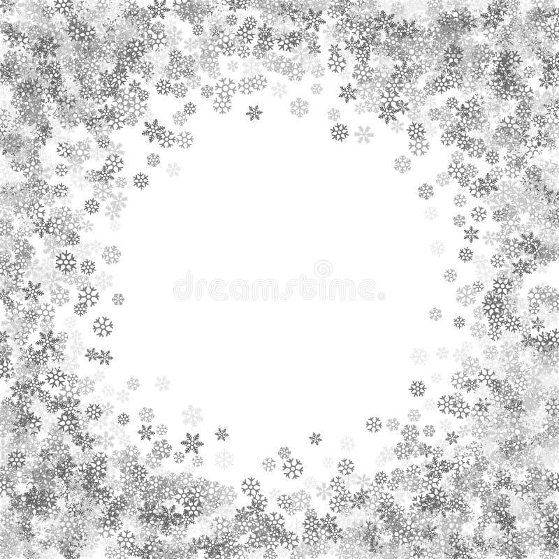 Vue ou frontière des flocons de neige aléatoires de dispersion illustration stock
