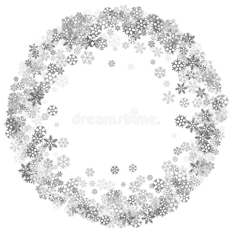 Vue ou frontière des flocons de neige aléatoires de dispersion illustration libre de droits
