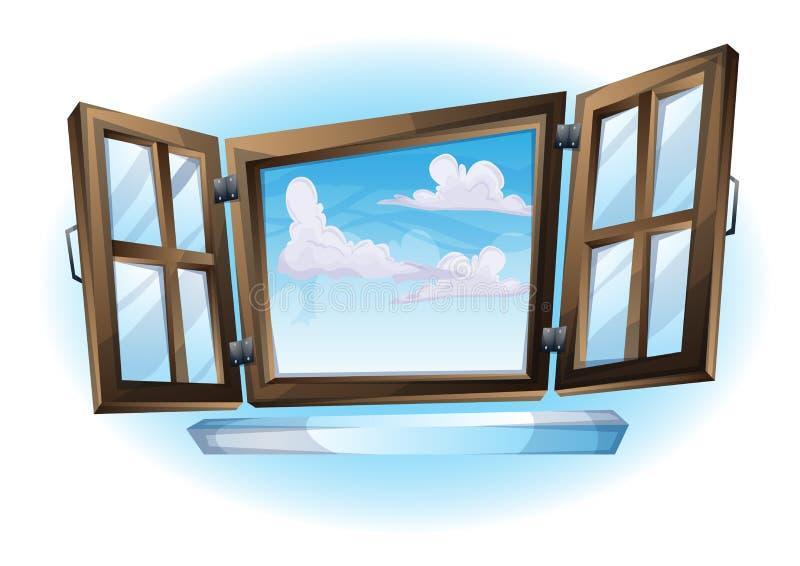 Vue ouverte de paysage de fenêtre d'illustration de vecteur de bande dessinée illustration stock