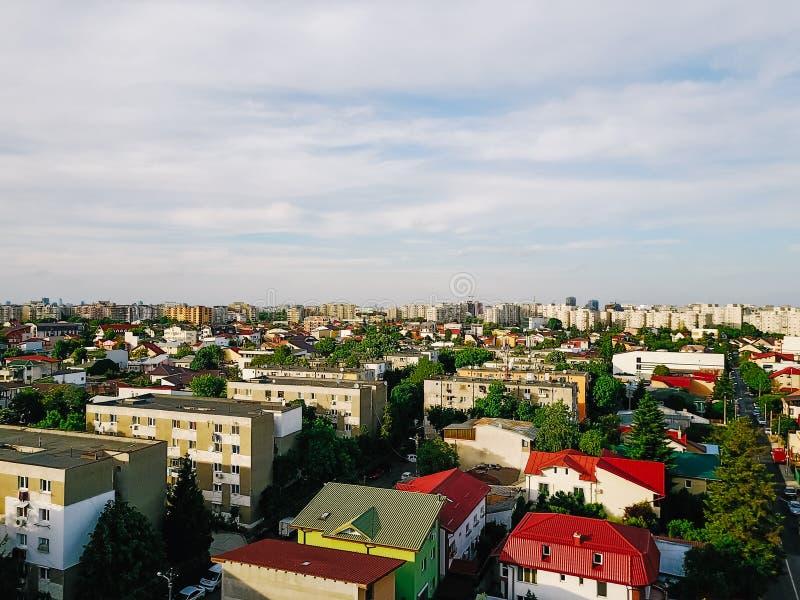 Vue panoramique aérienne de ville de Bucarest photographie stock libre de droits