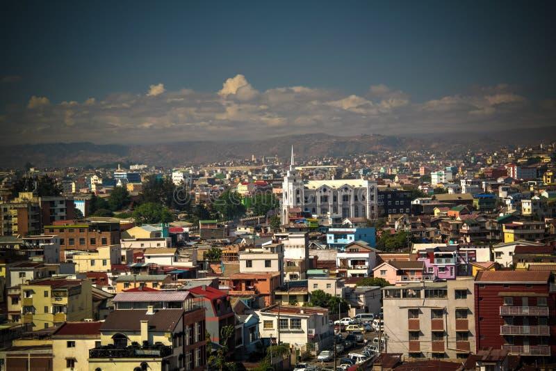 Vue panoramique aérienne vers Antananarivo, capitale du Madagascar image libre de droits