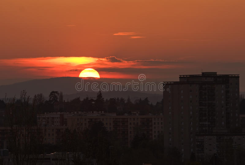 Vue panoramique au coucher du soleil photo libre de droits