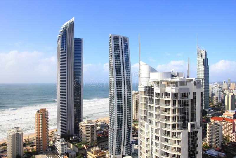 Vue panoramique au-dessus du paradis de surfers photographie stock