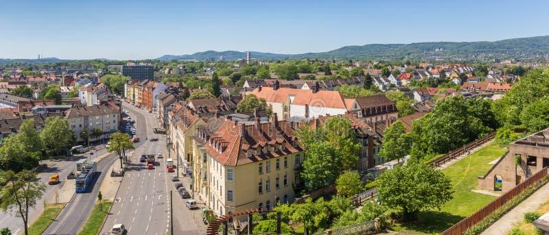 Vue panoramique au-dessus du parc et de Kassel de Weinberg image libre de droits